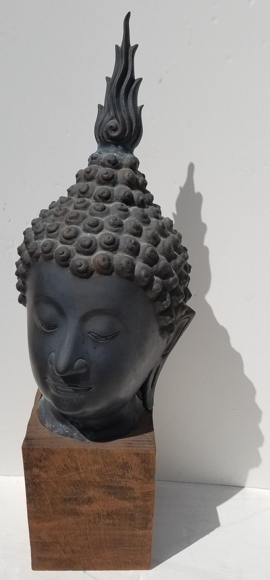 Antique 3ft Thai Bronze Temple Buddha