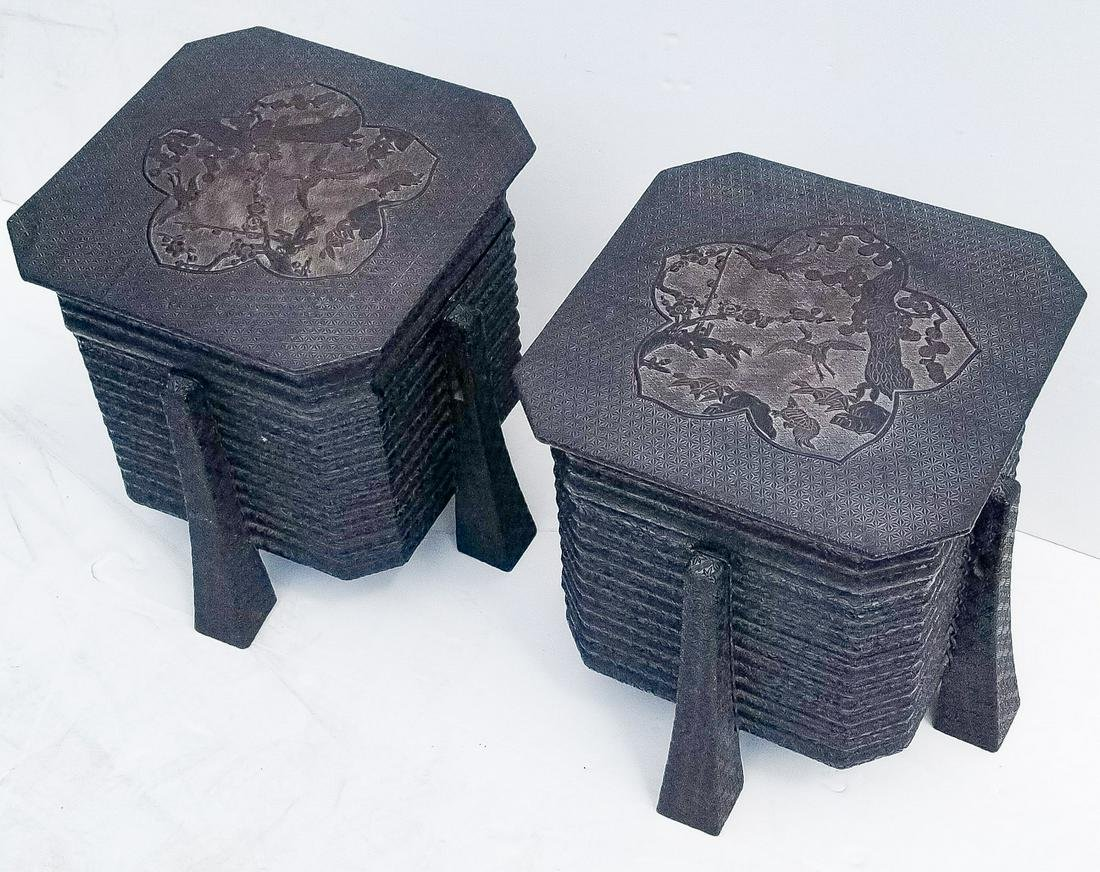 Pair Antique Japanese Kimono Boxes