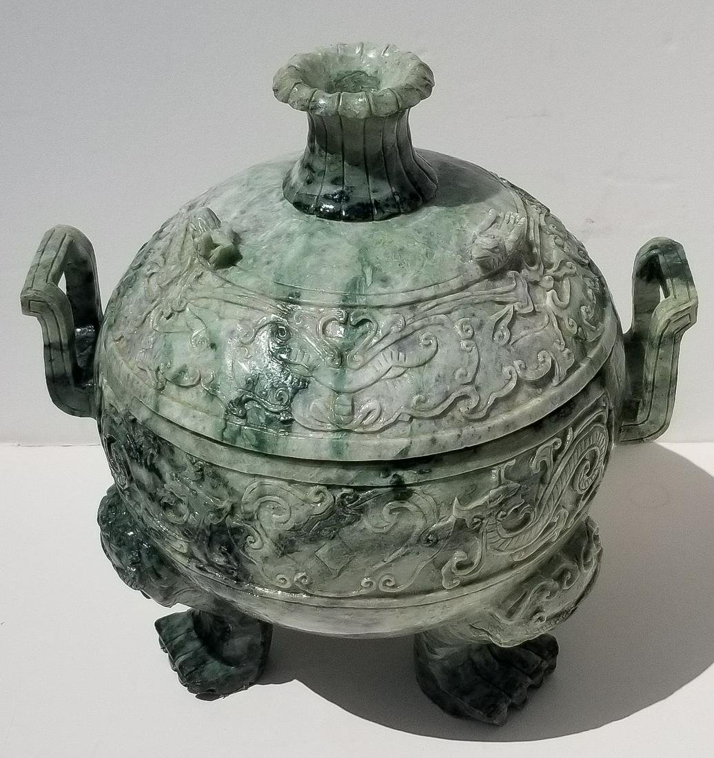 Large Heavy Chinese Jade Covered Bowl