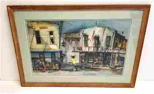 Mystery Bahamas Vintage Watercolor 2 Sigs