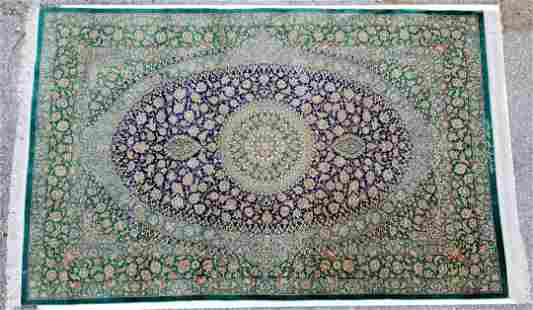 Signed Silk Persian Medallion Carpet Nain