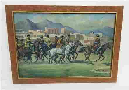 Signed Vintage Afghan Buzkashi Painting