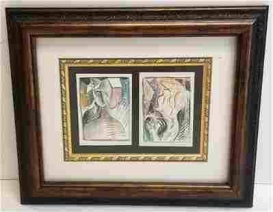 Pair Cubist Modernist Miniature Paintings