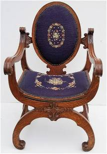 Victorian Oak Elaborate Armchair