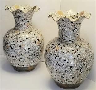 Lg Pair Signed Satsuma Crane Palace Vases