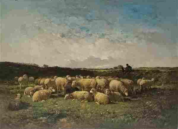 Large Felix Brissot French Landscape Oil