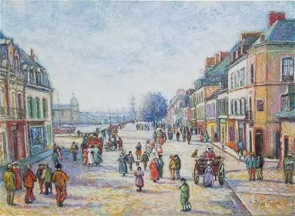 Orig H Claude Pissarro Painting COA 2of2