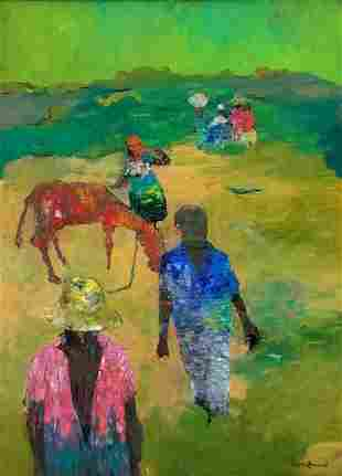 Large Gesner Armand Haitian Oil Painting