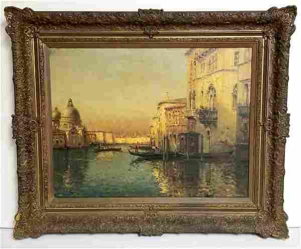 Antoine Bouvard Venetian Sunlit Canal Painting