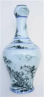 Large Garlic Mouth Famille Verte Chinese Vase