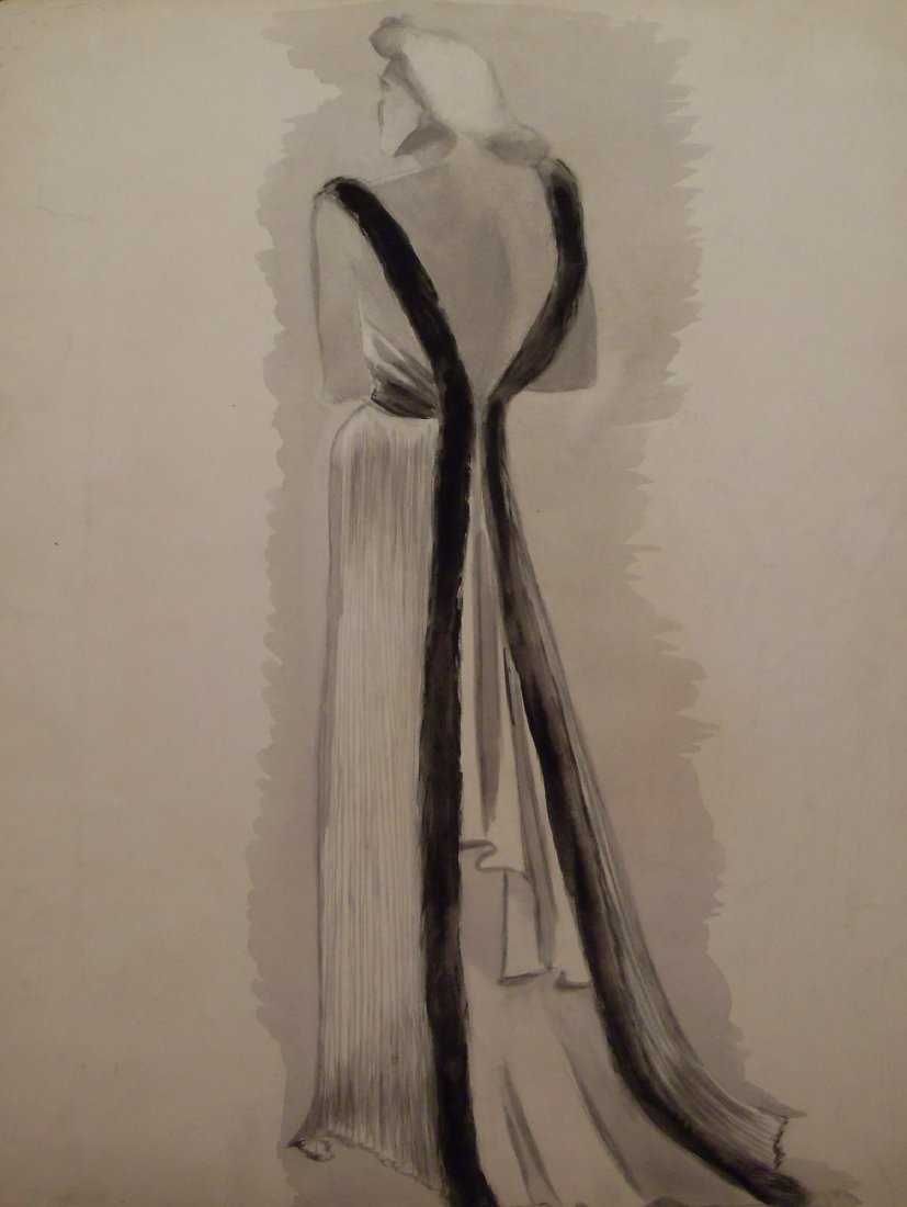 Original American Art Deco Fashion Illustration Waterco