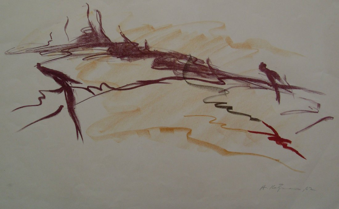 1962 Herbert Katzman Abstract Signed Color Lithograph o