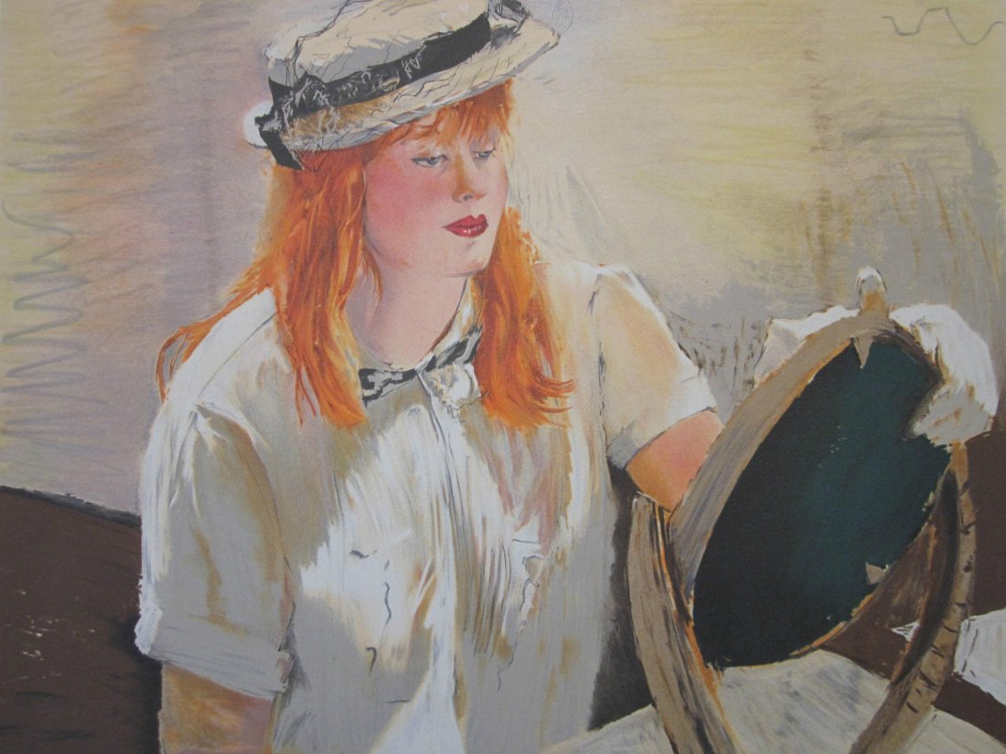 Large Rhoda Yanow Color Lithograph Straw Hat Young Lady