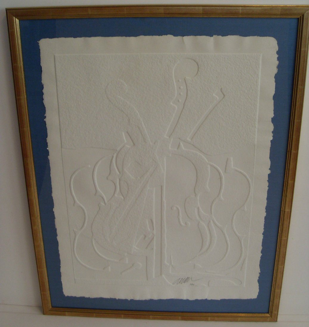 ARMAN Colere de Violons Original White Embossed Lithogr