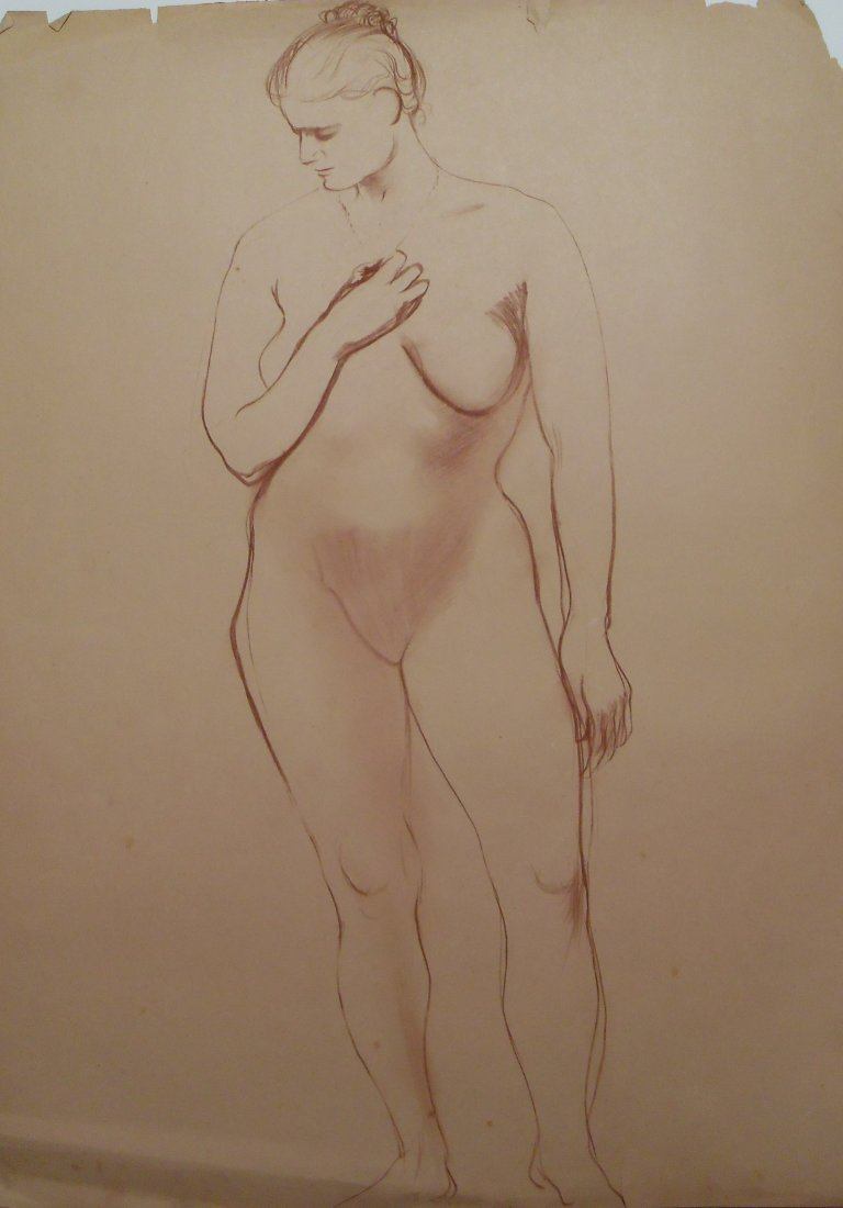 Original Nude Academic Figure Study Sanguine Drawing Mi