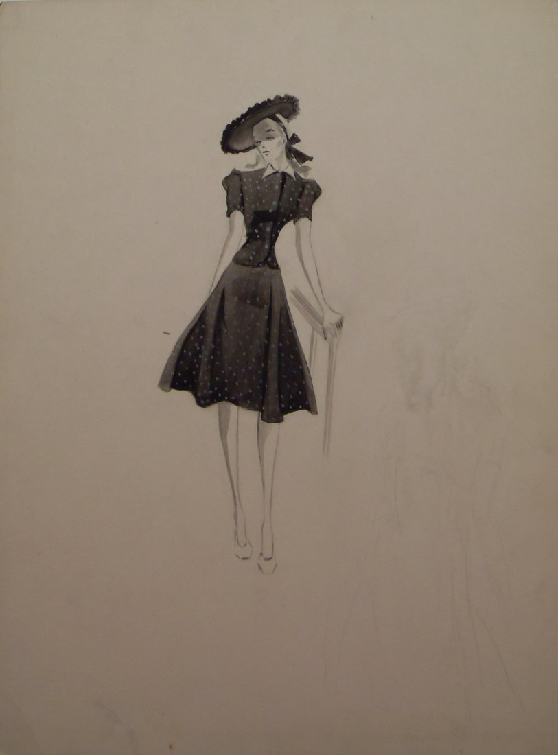 Original WWII Era Vintage Fashion Illustration Watercol