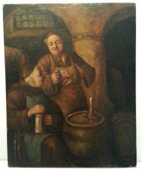F A Grossmann German Tavern Wine Cellar Monk Painting