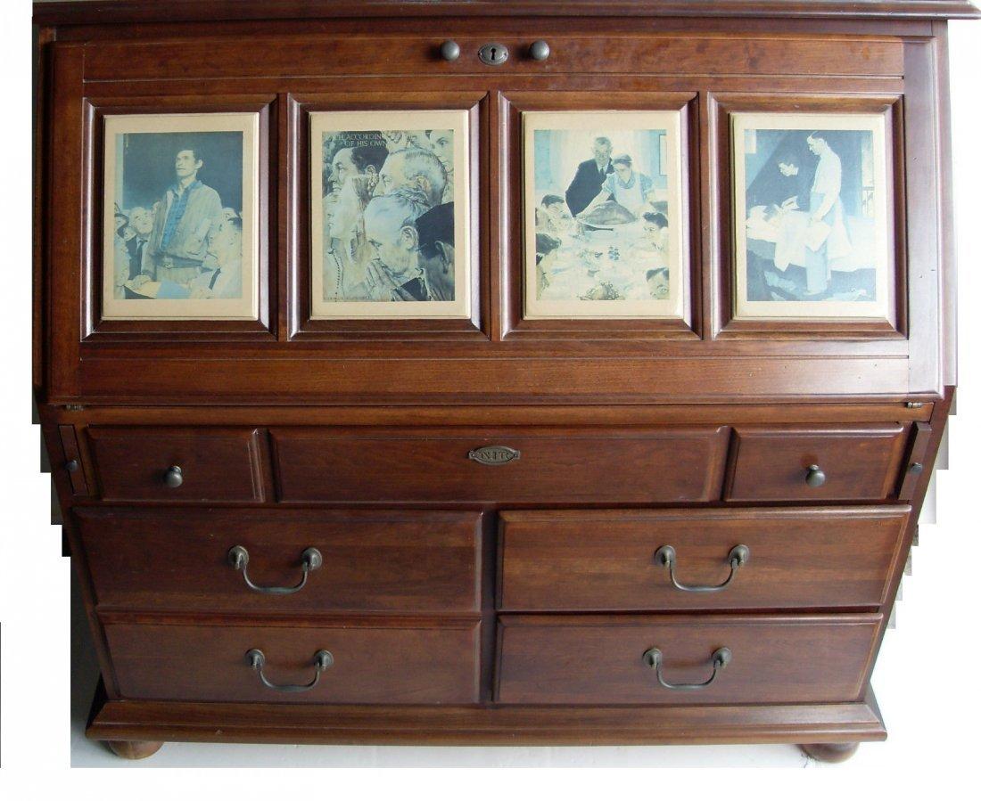 Norman Rockwell Four Freedoms Cherry Secretary Desk