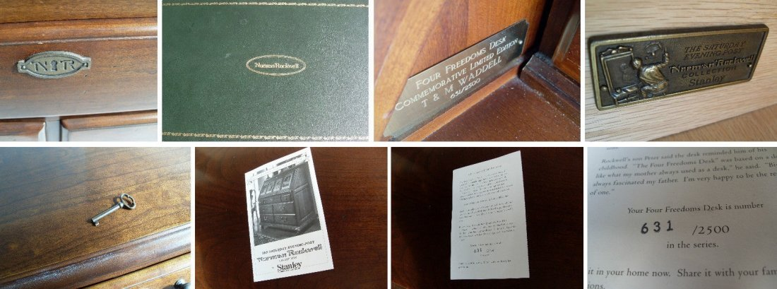 Norman Rockwell Four Freedoms Cherry Secretary Desk - 4