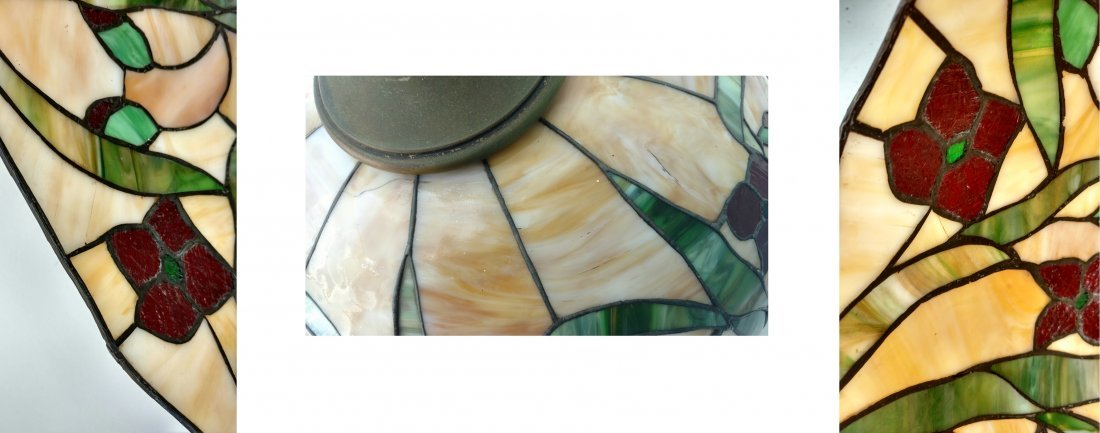 Large 22in Antique Leaded Glass Hanging Lamp Shade - 10