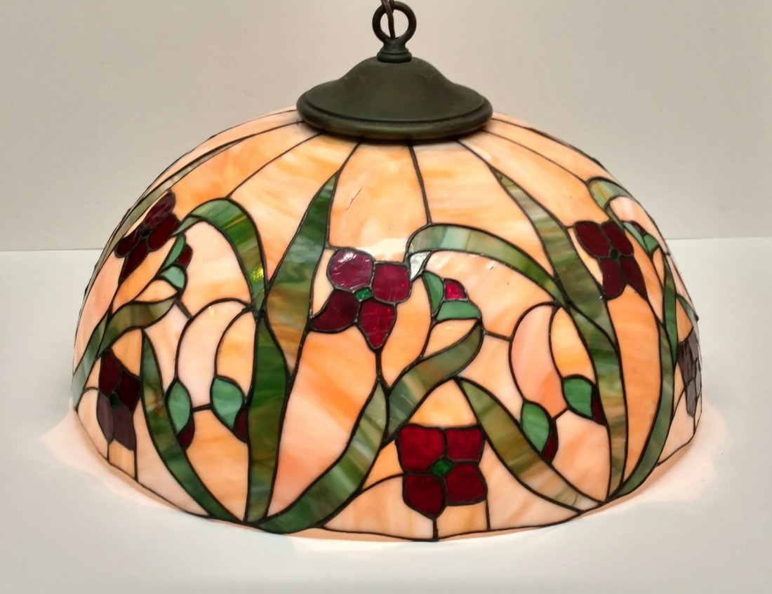 Large 22in Antique Leaded Glass Hanging Lamp Shade