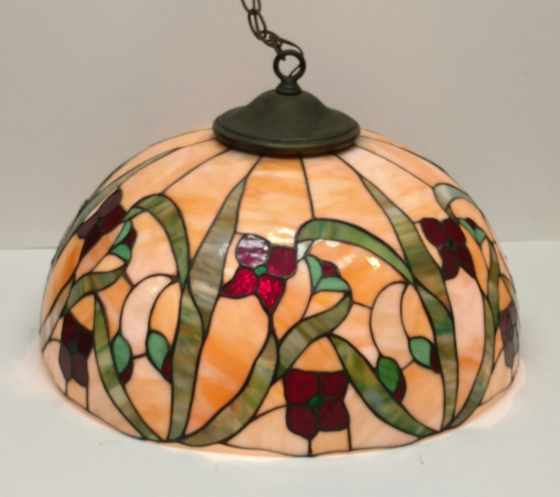Large 22in Antique Leaded Glass Hanging Lamp Shade - 2