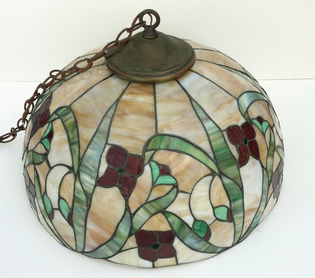 Large 22in Antique Leaded Glass Hanging Lamp Shade - 3