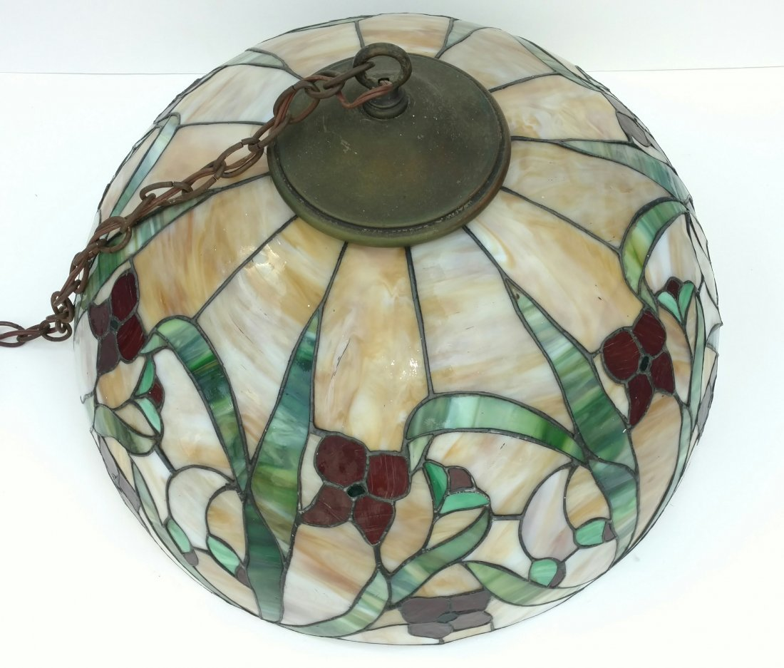 Large 22in Antique Leaded Glass Hanging Lamp Shade - 4