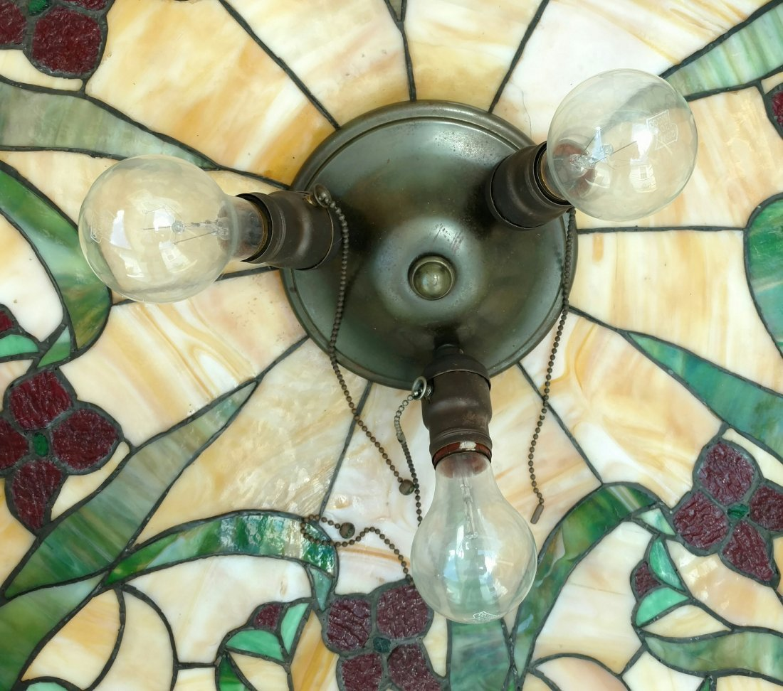 Large 22in Antique Leaded Glass Hanging Lamp Shade - 7