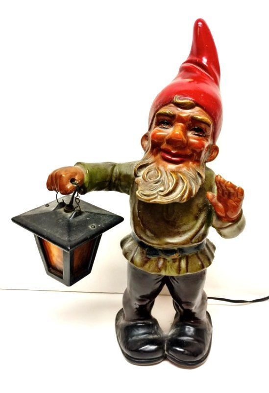 Signed West German 16in Terra Cotta Gnome Statue Lamp