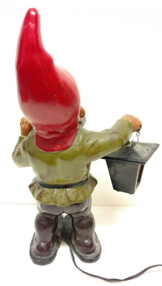 Signed West German 16in Terra Cotta Gnome Statue Lamp - 4