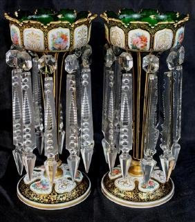 Pair very fine green English lusters, hand painted