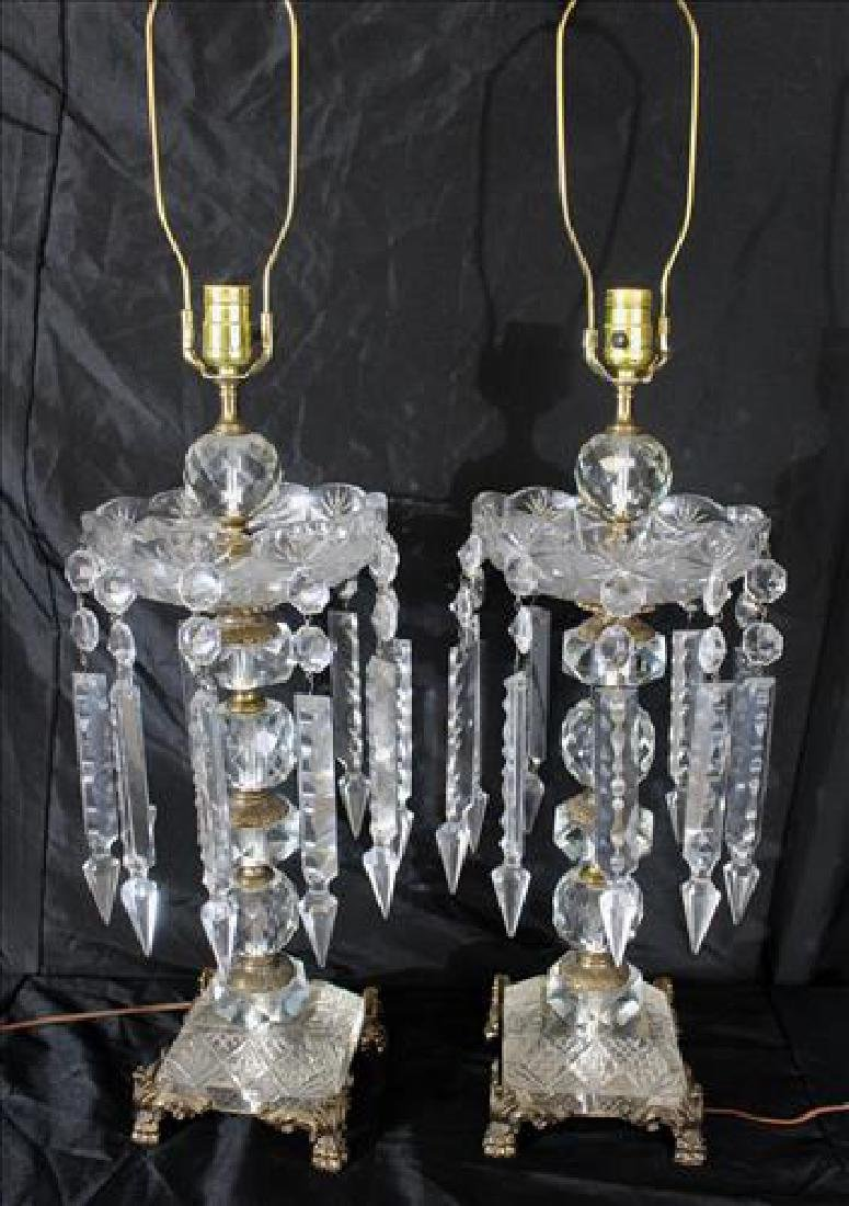 Pair large crystal lamps with long prisms, 37 in. T.