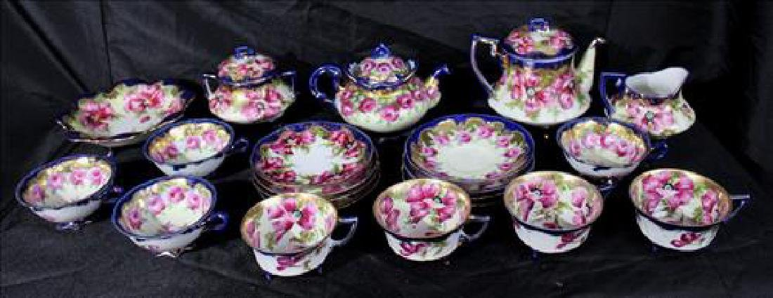 21 piece and painted Nippon tea set, royal blue