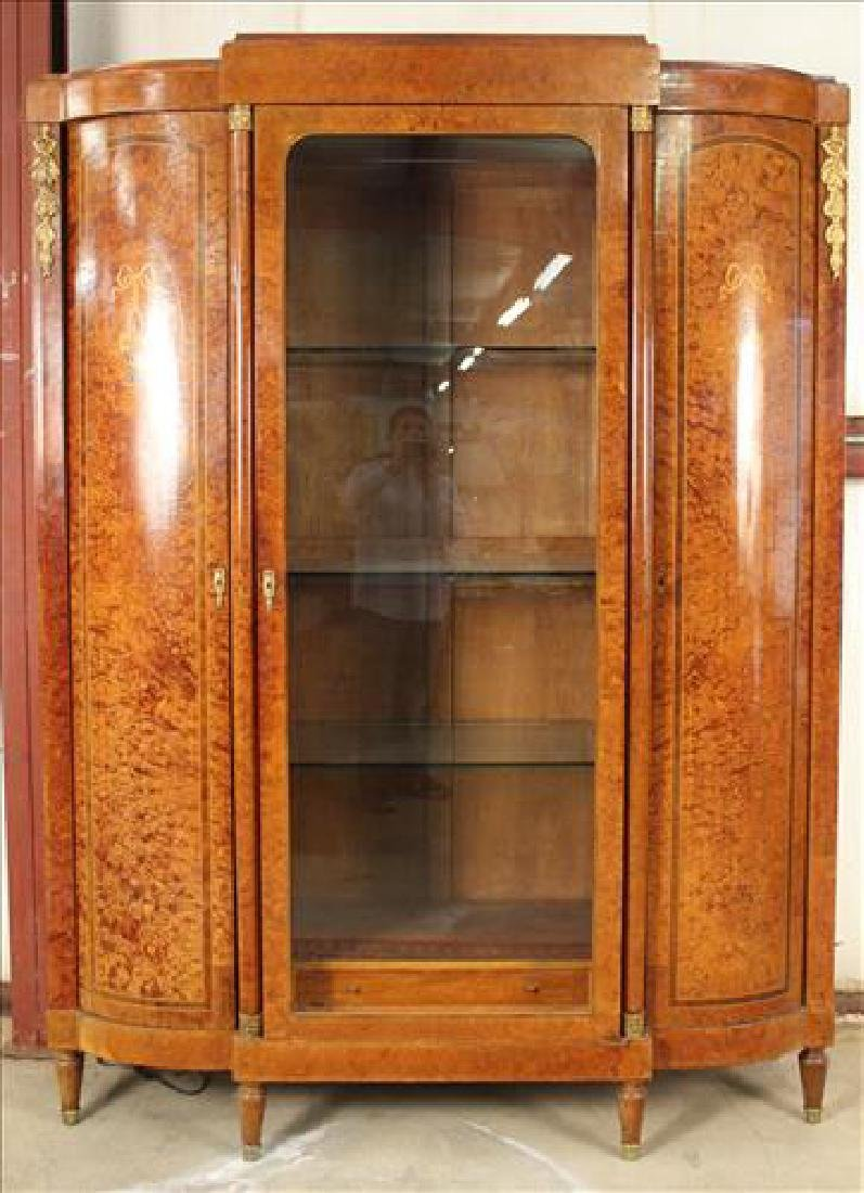Burl walnut French wardrobe made into cabinet