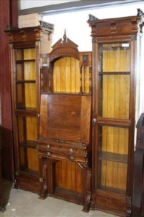 Walnut Victorian bookcase with pierce carved gallery