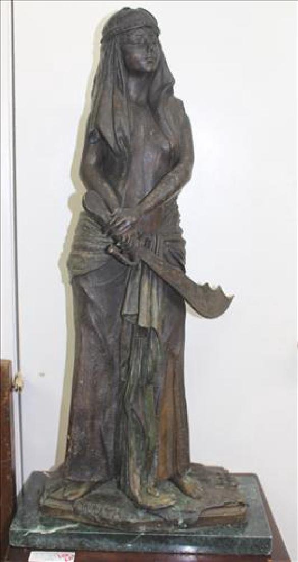 Bronze statue of Judith by Emmanuel Villanis, signed