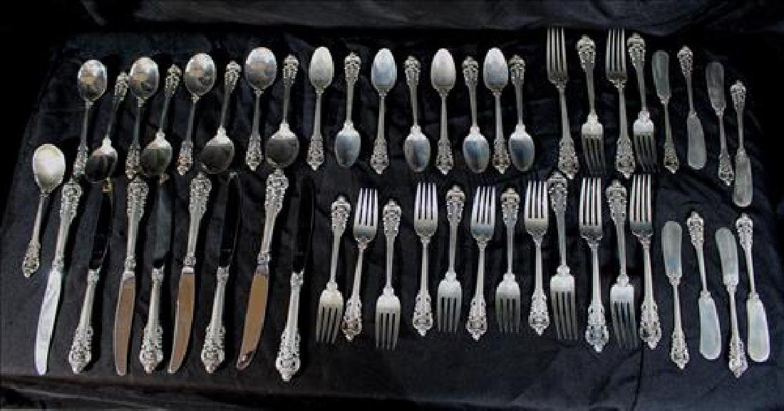 49 piece sterling silver flatware, Grand Baroque