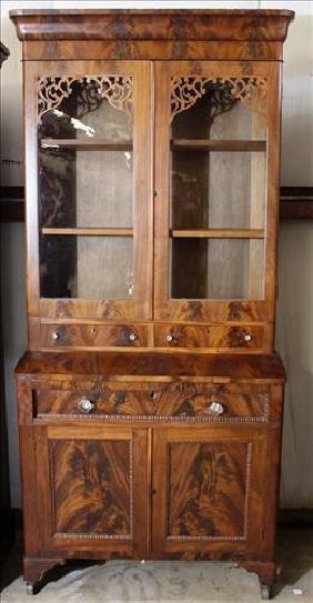 Flame mahogany Empire secretary desk. 87 in. T.