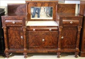 Flame mahogany Empire sideboard w column front