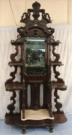 Rosewood Victorian marble top etagere