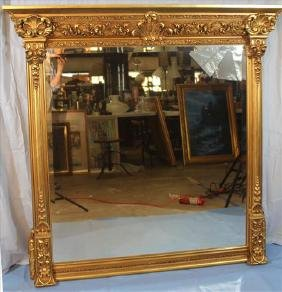 Gold leaf mantle mirror with beveled glass, 55 x 56