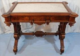 Burl walnut Victorian  center parlor table