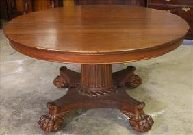 Solid mahogany round Empire dining table, 54 in. R.