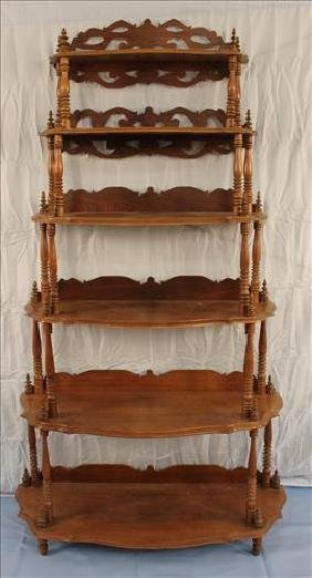 Walnut Victorian etagere with 6 shelves, extra tall
