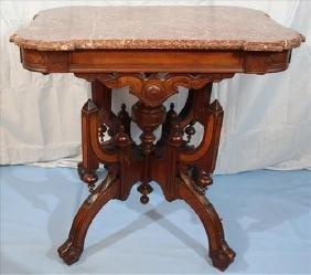 Walnut Victorian Eastlake brown marble top table