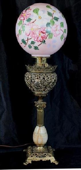 Brass and Alabaster banquet lamp with pink shade