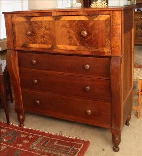 Cherry and mahogany 4 drawer chest with scroll front