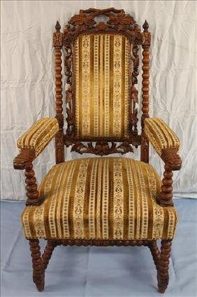 English oak fireside chair with twig carving