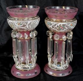 Pair Victorian enamel painted lusters with pink